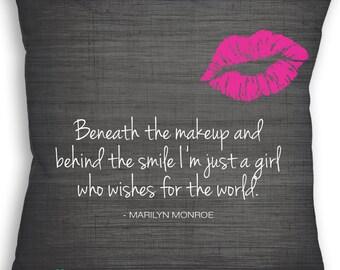 Marilyn Monroe - Marilyn Monroe Quote - Beneath the Makeup Art - Custom Pillow - Decorative Pillow - Throw Pillow - Marilyn Monroe Gift