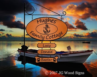 Wood Carved Sign - Custom Anchor Wide Oval Wood Camping Sign with 1 add on - RV Sign Holder Option - JGWoodSigns Etsy Hughes