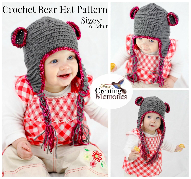 Crochet pattern teddy bear baby hat w earflaps child teen zoom dt1010fo