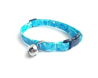 Blue Cat Collar, Breakaway Cat Collar, Boy Cat Collar, Cat Accessories, Cute Pet Accessory, Designer Cat Collar, Modern Cat, Water Bubbles