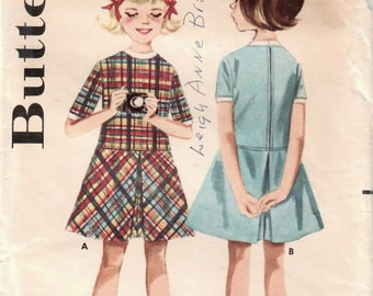1960s Butterick 2895 Vintage Sewing Pattern Girl's Party Dress, Skimmy Dress, Drop Waist Dress Size 6
