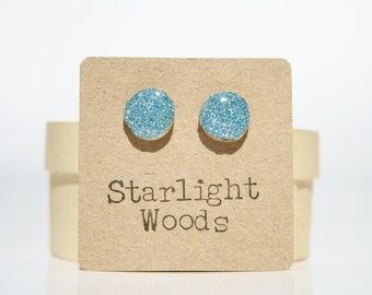 Blue sparkle stud earrings - Hypoallergenic Studs - Tiny Blue Studs - Everyday Earrings for Her