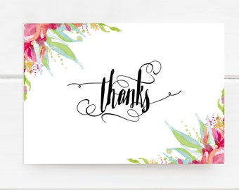Printable Thank You Card, Pink Flowers, Watercolor Floral Card, Thanks Card, Printables, Floral Card, Digital Thank You Card, Greeting Card