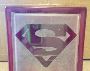 superman logo glass block