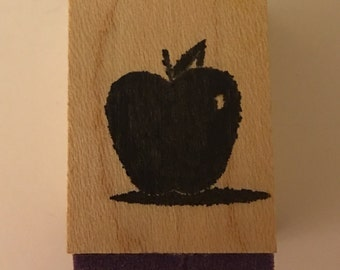 Wood Mounted Rubber Stamp. Apple