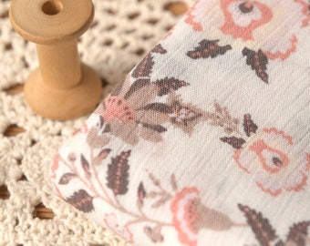 Pink Floral Dress Fabric Sold by Half Meter MJ851
