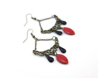 Black, and Red arabesque earrings ethnic chic earrings