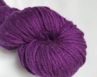Hand-dyed yarn, Indie dyed yarn, hand dyed yarn DEEP PLUM -- ready to ship -- Randall's Island sport superwashmerino-nylon yarn