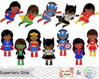 27 Superhero Girls Digital Clipart, Superhero Clip Art, Girl Superhero Clip Art Little Girl Super Hero African American Superhero Girl 00206