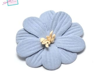 4 flowers in faux leather (suede) 45 X 10 mm sky blue