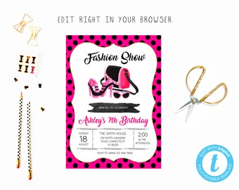 Dress up invitation etsy fashion birthday party tem try before you buy instant download edit yourself invitationtemplate editable stopboris Gallery