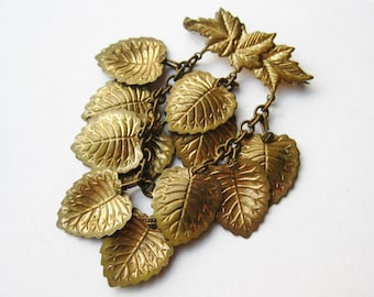 Vintage 40s Miriam Haskell Style Czech Gold Leaves Dangle Brooch Pin