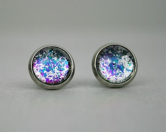 Imperator Furiosa - Iridescent Color Changing - Stainless Steel Stud Earrings - Blue, Green and Fuchisa over Chrome - Mad Max