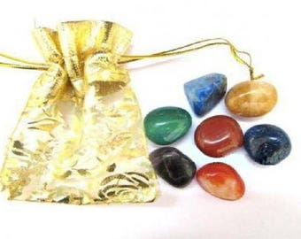 Rainbow Chakra Smooth Tumbled Stone Sets with Gold Pouch