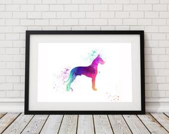 Great Dane Watercolor Print - Dog Print - Watercolor Art - Dog Wall Art - Animal Art Print- Watercolor Great Dane Painting - Dog Lover Gift
