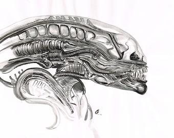 Alien Giger inkwash original art