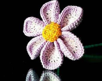 Crocheted Flower. Purple. Lavender.