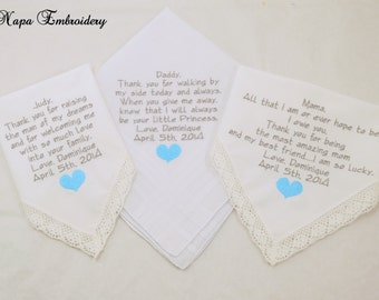 Father of the Bride Mother of the Bride Mother of the Groom Mother in Law gifts Embroidered Handkerchiefs Wedding Hankerchiefs Personalized