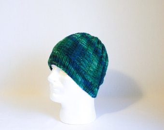 Sea Monster Hat knitting PATTERN - large warm cozy ribbed knit stocking hat - permission to sell finished items