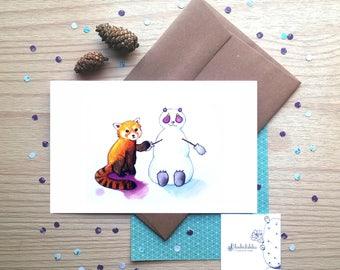 The curious red panda,  snowman friend, panda, watercolor, illustration, wall decor, wish card, nursery room decor, whish card, winter