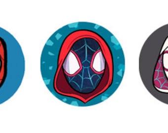 Spiderman Miles Morales Spider-Gwen Spider-Man Superhero 1 inch Button