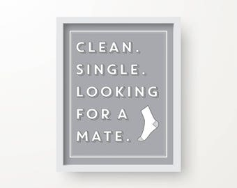 Clean. Single. Looking for a mate, Laundry room decor, Funny laundry room sign. 56 colors available, laundry art, Laundry Sign