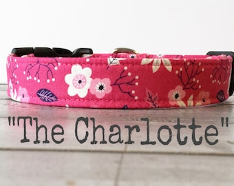 Last Chance!! Pretty DOG COLLAR, Made to Order, Dog Collar for Girls, Floral Dog Collar - The Charlotte