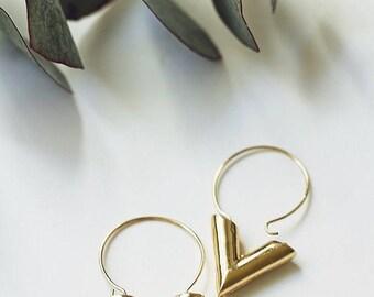 Gold V Hoop Earrings