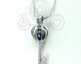 Pick A Pearl Cage Necklace Heart Key Silver Plated Crystal  Pendant Locket Charm Holds Bead Cage