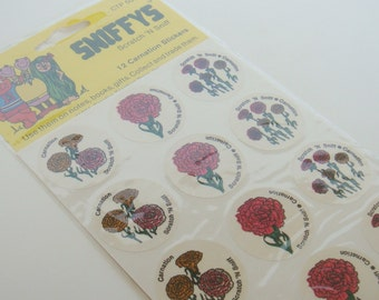 Vintage 1981 Sniffys Scratch And Sniff Stickers Carnation Scent Brand New In Package Set Of 12