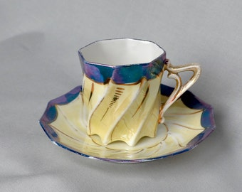 Lusterware Demitasse Espresso Cup and Saucer Teacup Iridescent