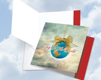 JQ5023AXSG New Jumbo Square-Top Christmas Card: Joy to the globe Featuring Images of Hanging Globes Proclaiming Seasons Greetings,w/ Env.