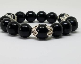 8mm Genuine Black Crystal, Beaded Bracelet, Stretch Bracelet, Men, Women