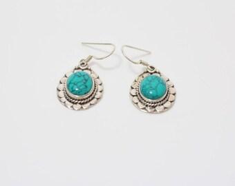 Silver 925 Turquoise Dangle & Drop Handmade Earrings