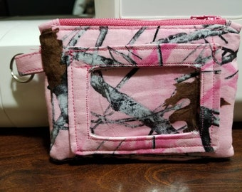 Pink real tree ID card wallet with zippered pouch