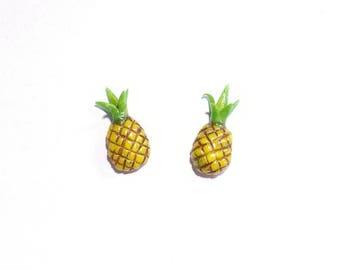 Pineapple stud earrings. Dollhouse miniature food earrings, tiny food jewelry, fruity earrings