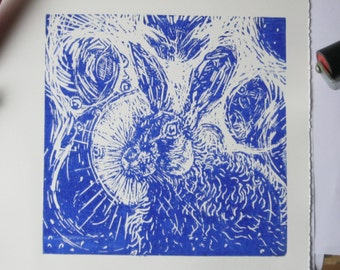 Hare in the Moonlight an original linocut print.
