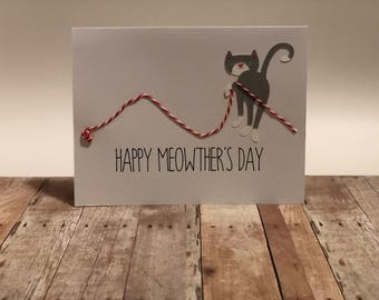 Handmade Happy Meowther's Day Greeting Card; Happy Mother's Day Greeting Card; Cat Mom Greeting Card