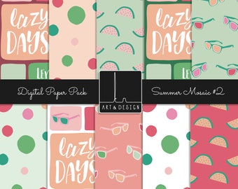 Summer Digital Paper Watermelon Pineapple Confetti Sunglasses Words Pink Green