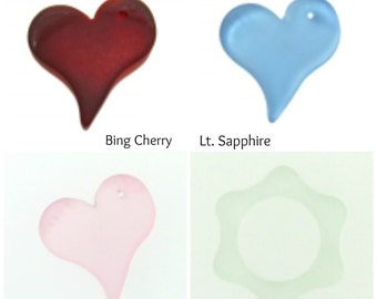 Heart Pendant - 28 x 32mm Glass Heart - 100% Recycled Glass - Eco Friendly