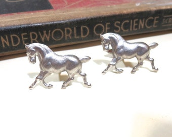 Antique Silver Galloping Horse Cuff Links - Wedding Cufflinks Soldered - Equestrian Horse Head Equine Antiqued