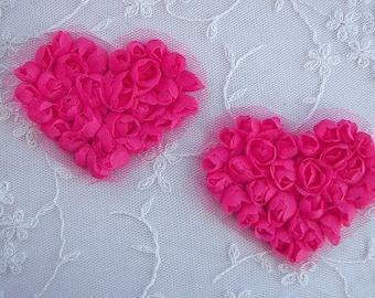 2 pc Handmade Fuchsia Pink Ribbon Rose Bud Flower  VALENTINE Floral Heart Applique Yoke