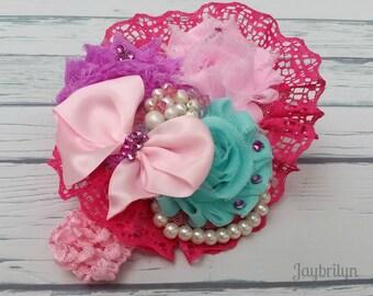 Baby Girl Headband - Beautiful Lace Headband - Shabby Chic Headband for Baby - Flower Headband