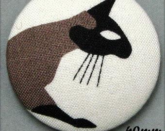 -Cat - fabric covered button cat Mistigri - (40-55)