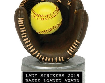 Softball Resin Award - Color Tek Softball and Glove Resin Trophy - Softball Trophy
