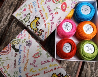 """Embroidery floss pearl cotton size 8 - Portuguese Embroidery thread """"Love kerchiefs"""" colors -  pink, yellow, blue, green, orange, red"""