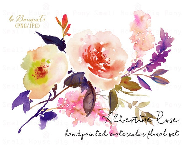 Digital Clipart Watercolor Flower Rose Clip Art Floral Bouquet Wedding Flowers Albertine Bouquets