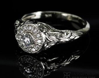 Filigree Diamond Halo Ring