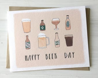 Happy Beer Day - Beer Lovers Card, Celebration Card, Craft Beer Lover, Beer Birthday Card, Beer Illustration, Everyday Card, Card for Him