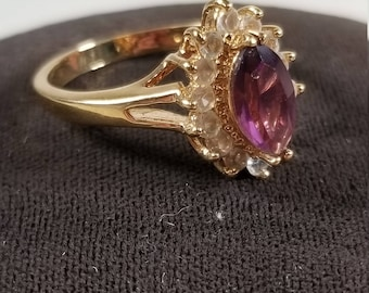 Vintage Gold Tone Marquise Cut Purple Amethyst and Cubic Zirconia Fashion Ring Size 8.25